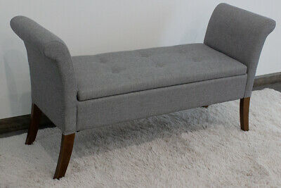 Grey Linen Window Seat. Ottoman Storage Bench With Scrolled Arms. Wooden Legs. • 109.90£