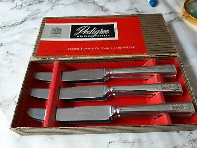 Windsor Pattern Viners Of Sheffield Butter / Cake Knives X 6 Boxed (33) • 12£