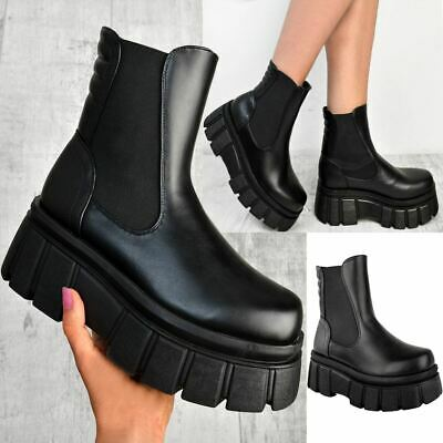 £21.99 • Buy Womens Ladies Chunky Wedge Platform Black Faux Leather Punk Goth Ankle Boots New