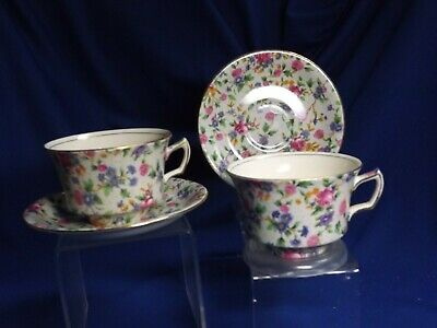 $ CDN26.25 • Buy Vintage 2 Royal Winton Grimwades  Old Cottage Chintz Cup & Saucers 4pcs No Chips