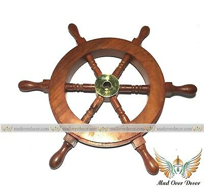 Handmade Wooden Ship Steering Wheel Nautical Pirate Themed For Home Decoration • 15.99£
