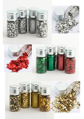 £7.45 • Buy 4 Pots Arts Craft Sprinkles Glitter Gold Silver Red/green Xmas Card Making Kids