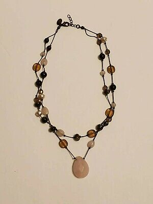 $ CDN1.31 • Buy Lia Sophia Necklace Pink Faceted Stone Pendant Pearls With Brown Beads 16  Long