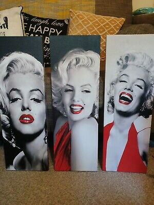 Marilyn Monroe Canvas Wall Art X3 Black And White. Beautiful Pictures. • 7.50£