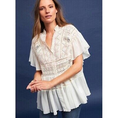 $ CDN26.35 • Buy Anthropologie Akemi + Kin Lindy Popover Top Size L Large Pink White Embroidered