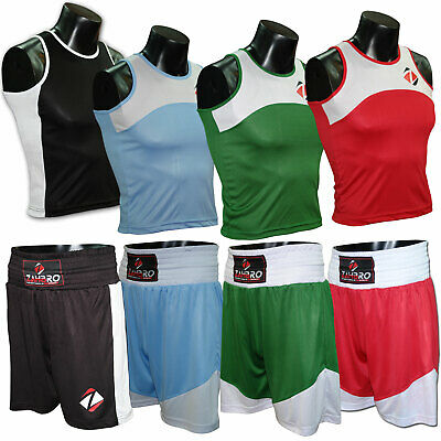 £14.99 • Buy Boxing Shorts And Vest Set Training Kids Satin Sparring Adult Kick  Top MMA