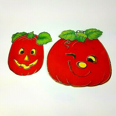 $ CDN16.80 • Buy Vintage Pair 2 Flocked Die Cut Small Pumpkin Double Sided Halloween Decorations