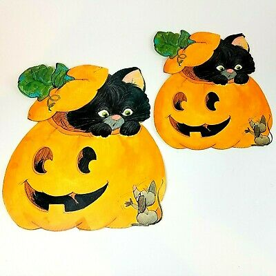 $ CDN31.73 • Buy Vintage Lot 2 Halloween Black Cat Mouse Pumpkin Die Cut Decorations 14  & 10