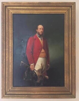 Rare  Vintage English Oil On Board Painting Master Of The Hunt ......Man Cave • 80£
