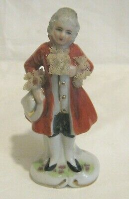 Small China Figurine Regency Gent Lace Cuffs And Collar Foreign Approx 4½ Ins • 8.99£