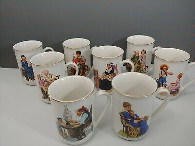 $ CDN30.39 • Buy Vintage Norman Rockwell Gold Trim Mug Set Of 8 Museum Collection 1986 (2 Avail.)