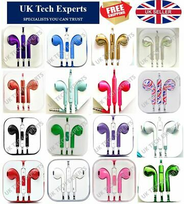 Headphones Earphones With Mic Colour Chrome Ear Pods For Samsung Apple HTC Sony • 4.95£