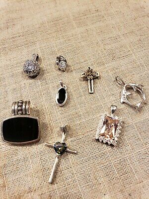 $ CDN52.71 • Buy Sterling Silver Pendants Lot Of 8 Largest .77  Great Condition. FREE SHIP!