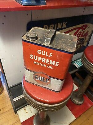 $ CDN26.35 • Buy Vintage Old Gulf Supreme Motor Oil 2 Gallon Metal Can Gas Station Empty USA