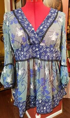 $ CDN26.35 • Buy Size Large, Print And Lace Anthropologie Blouse With Bell Sleeves New $88