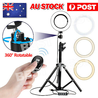 AU23.95 • Buy LED Ring Light With Tripod Stand Phone Holder Dimmable Studio Photo Makeup Lamp