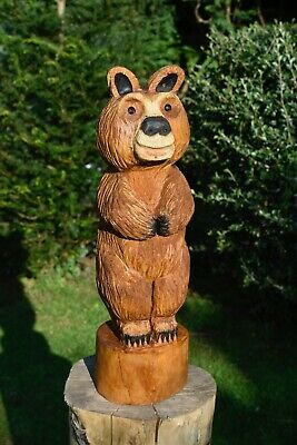 Chainsaw Carved Bear Hard Wood Garden Sculpture Ornament Carving • 115£