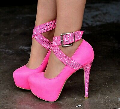 Ladie Suede Studded Ankle Strap Shoes Platform Stiletto High Heels PINK Size 3 • 12.99£