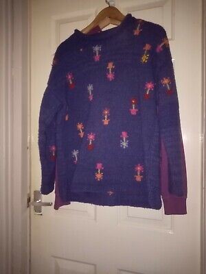 Vintage Pachamama 100%  Pure Wool  Flower Pot Design Chunky Jumper Size 10/12 • 35£