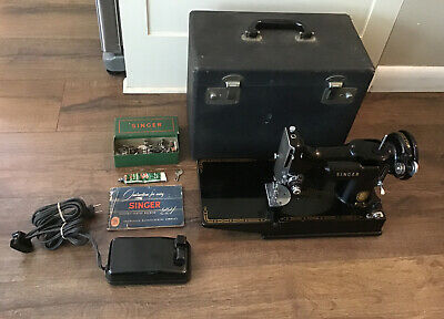 $460 • Buy Vintage Singer Featherweight Sewing Machine 221 W/ Extras 1955 Tested Works
