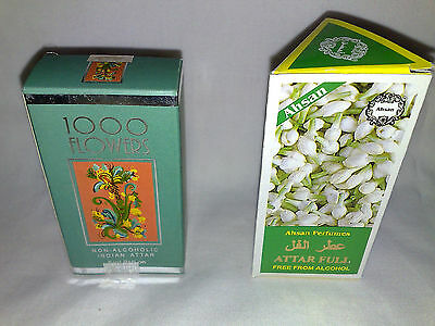 2 X 6ml BOTTLES - 1000 FLOWERS AND AHSAN ATTAR FULL NON-ALCOHOLIC PERFUMES • 4.49£