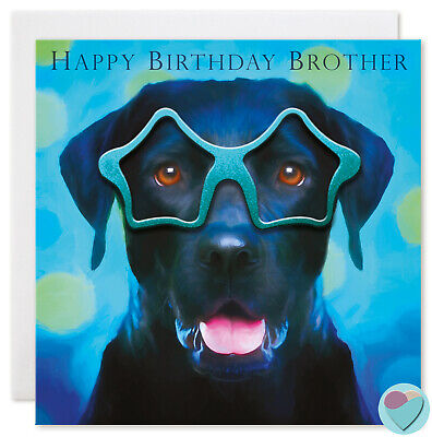 Brother Birthday Card HAPPY BIRTHDAY BROTHER To Or From Labrador Dog Puppy Lover • 2.90£