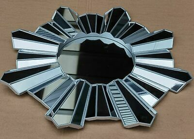 65cm Contemporary Hanging Wall Mounted Silver Mirror Sunburst Home Decor Round • 34.99£