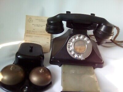VINTAGE BAKELITE PYRAMID GPO TELEPHONE + BELL &  Letter Of Code Changes  • 200£