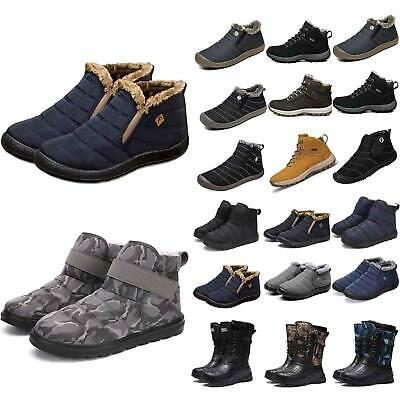 Mens Fur Lined Boot Snow Ankle Boots Winter Warmer Thermal Chunky Shoes Outdoor • 17.66£