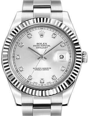 $ CDN14467.38 • Buy Rolex Datejust II Steel & 18k White Gold Bezel Diamond Dial 41mm Watch 116334