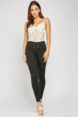 Ladies Black High Waist Lace Up Treggings/Trousers..Size 8-10.10-12-12-14.14-16 • 10.99£
