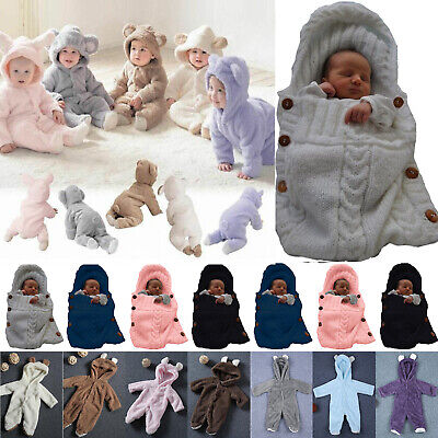 Baby Boys Girls Romper Hooded Bear Jumpsuit Bodysuit Wrap Outfits Winter Warm UK • 9.21£