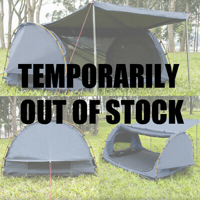 AU199 • Buy Derk King Single Camping Swags Canvas Free Standing Dome Tent  Navy