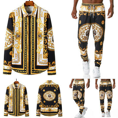 Mens Gold Print Shirt Button Down Long Sleeve Tracksuit Botton Pants Co-ord Set • 6.99£