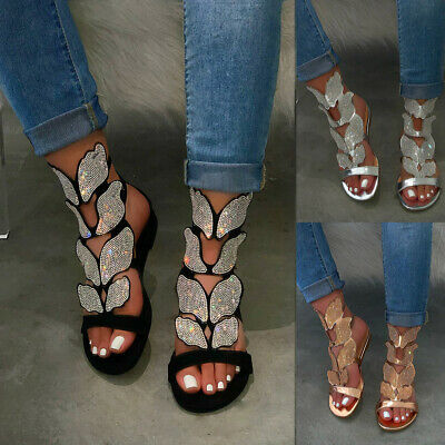 Women Rhinestone Ankle Strap Sandals Summer Beach Party Glitter Flat Shoes Size • 11.66£