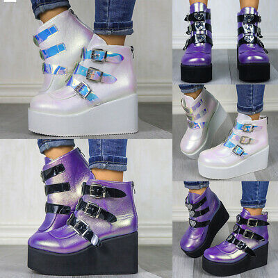 Women Platform Ankle Boots High Wedge Chunky Punk Goth Buckle Zip Up Shoes Size • 22.29£