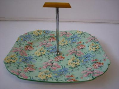 Vintage Shelley Melody Chintz Deco With Green Trim Single Tier Cake Stand • 19.99£