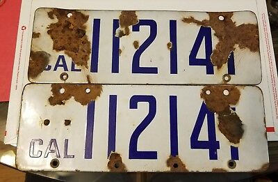 $ CDN250.52 • Buy 1916 - 1919  California  Pair  Porcelain  - License Plate Rare