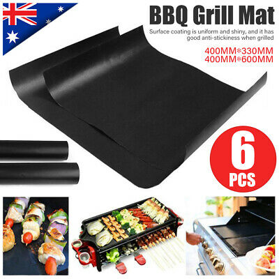AU20.79 • Buy BBQ Grill Mat Reusable Bake Sheet Teflon Meat Barbecue Non-Stick Party 6PCS