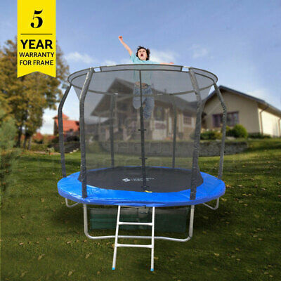 AU245 • Buy 8Ft Round Spring Trampoline With Ladder Safety Net Enclosure Mat