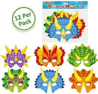 Party Masks Pack Of 12 Dinosaur CHOOSE QUANTITY FOR MORE DISCOUNTS • 2.99£