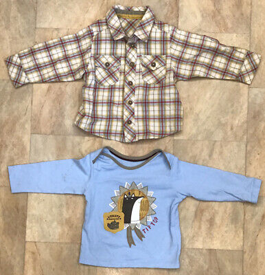 Baby Boys M&S Clothes Bundle Matching Shirt Long Sleeve Top Age 9 - 12 Months • 7.50£