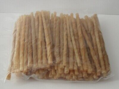 DOG CHEWS / TREATS 100 X Natural Hide Twists 5  LONG 3-5mm For SMALL Dogs. 300g • 3.99£