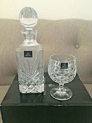 Royal Doulton Crystal Brandy Decanter Set With 2 Glasses • 29.99£