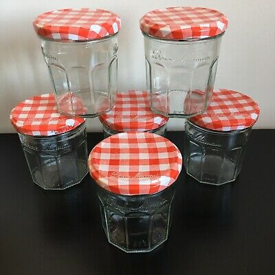 6 Bonne Maman Jam Jars Used Empty 370gm Size With Red Gingham Lids • 4.20£