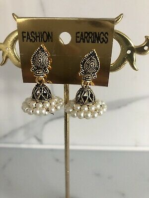 New Bollywood Jhumki Jhumka Earrings Antic Gold Plating With Pearls- Size Small • 3.47£