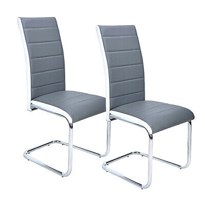 £59.99 • Buy Set Of 2 Modern Grey & White Faux Leather Dining Chairs High Back Chrome Legs