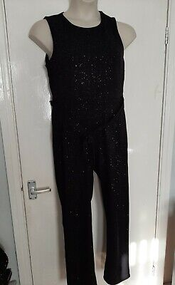 Bnwt Dorothy Perkins Black And Silver Glitter Jumpsuit Size 14 • 8.99£