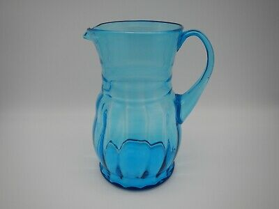 $15 • Buy Antique Blown Art Glass Ribbed Pitcher Peacock Blue Applied Handle