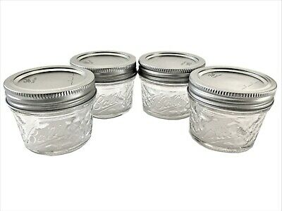 $7.85 • Buy Ball Mason Jar Jelly Jars 4 Oz. Quilted Crystal Reg Mouth-Lot Of 4